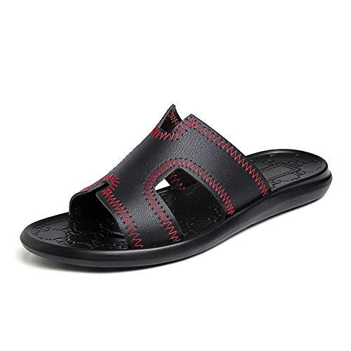 HILOTU Sommer Mode Hausschuhe Für Männer Slip On Style Outdoor Fischer Atmungsaktiv Sport Strand Sandalen Aus Echtem Leder Schlupf Lässige Hausschuhe (Color : Schwarz, Größe : 42 EU) -