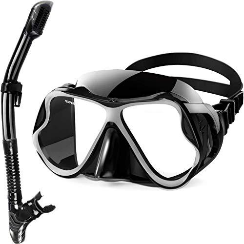 Schnorchelset für Erwachsene Mit Tauchmaske und Schnorchelausrüstung - Schutzbrille Clear View Dry Top Valve zum Tauchen Freitauchen Speerfischen Schwimmen
