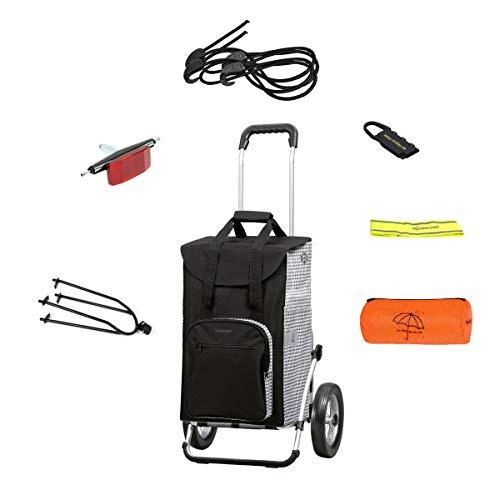 Andersen Einkaufstrolley Royal mit Einkaufstasche Dante schwarz 45 Liter, Regencape, Reflektorband, Spanngurt und Fahrrad-Anhängerkupplung