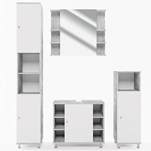 VICCO Badmöbel Set Badezimmermöbel FYNN Spiegel + Unterschrank + Midischrank + Hochschrank (Set 4, Beton)