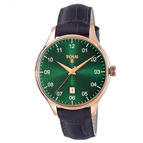Orologio Tous Unisex 50-035-036-0 Al quarzo (batteria) Acciaio placcato oro rosa Quandrante Verde Cinturino Pelle