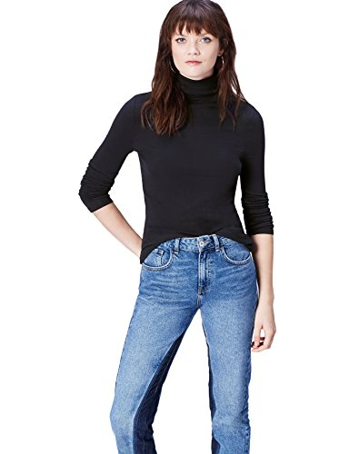 Amazon-Marke: find. Langarmshirt Damen Rollkragen und gerippte Struktur