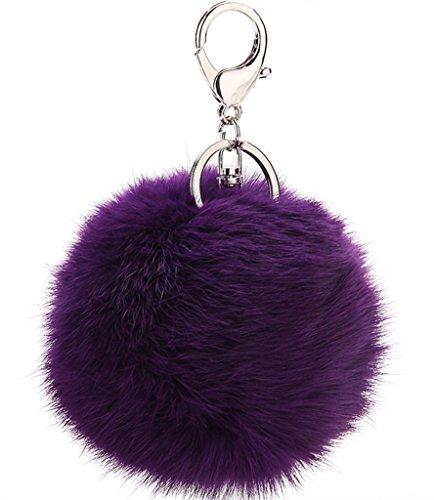 Bigood Porte-clés Trousseau Artificiel Fourrure Balle Ornement Pour Clé Sac Voiture Violet