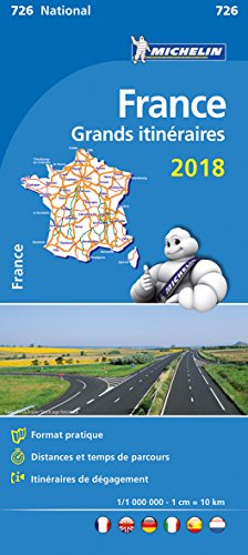 France. Route planning. Grands itinéraires 2018 1:1.000.000
