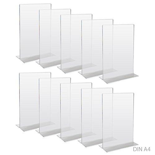 HMF 46922 Acryl Tischaufsteller gerade   DIN A4 Hochformat   Glasklar   10 Stück