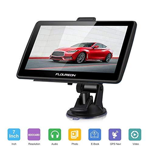 "FLOUREON Dispositivo di Navigazione LCD Touch Screen da 7"" Navigatore GPS Navigazione NAV Mappe EU UK Memoria da 8 GB Per Auto (Nero)"