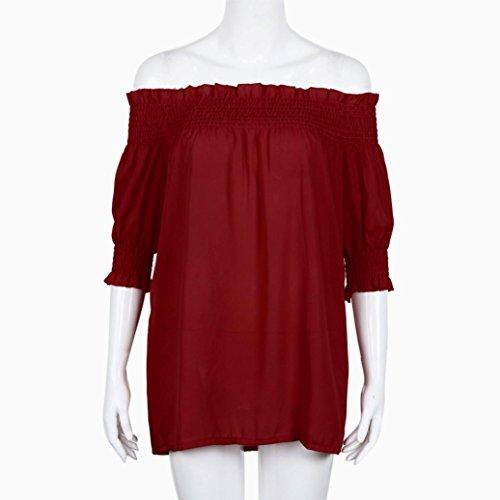 Sannysis Damen Schulterfrei Bluse Strand-Hemd Rot