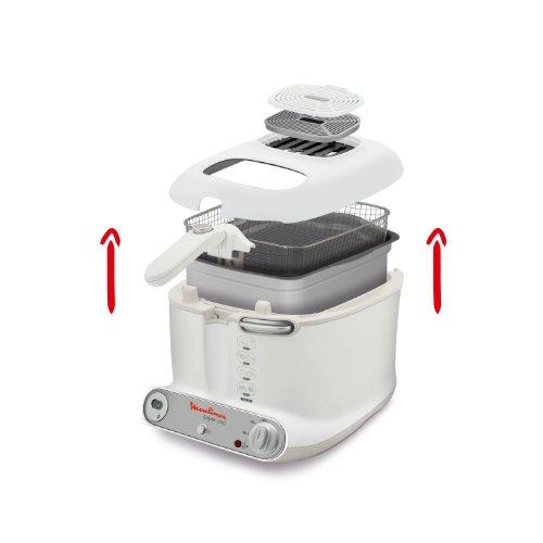 Moulinex AM3021 Fritteuse Super Uno / 1.800 Watt / Timer / wärmeisoliert / 1,5 kg Fassungsvermögen / weiß/hellgrau - 5