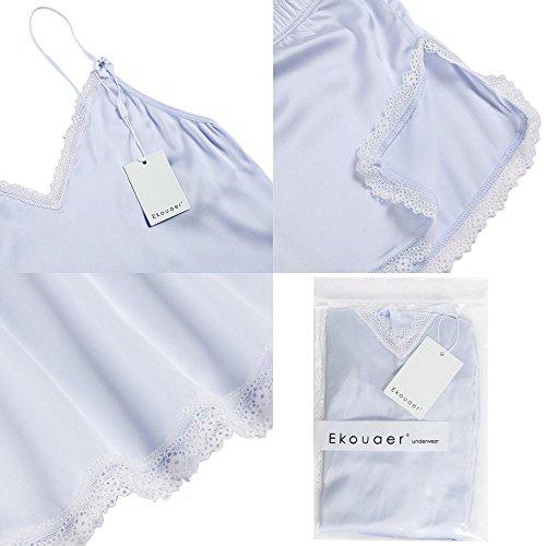 Ekouaer Donne vettore pigiameria sexy due pezzi estate con i bicchierini Notte Suit Shorty Light Blue