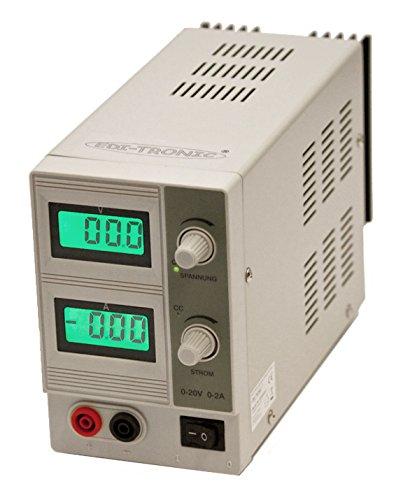 edi-tronic DC Regelbares Labornetzgerät 0-20V 0-2A EDI2002C Labornetzteil Netzgerät regelbar
