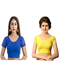 524cfb2cbe839e Fressia Saree Blouse Readymade Stretchable Cotton Lycra Free Size stitched Saree  Blouses For Women Party Wear