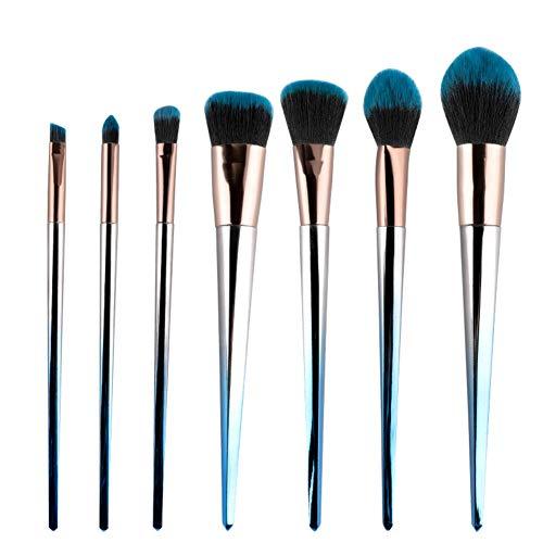 Douceur Poils Pinceau de maquillage Kit de, Mélange Visage Poudre Rougir Cache-cernes Yeux Cosmétiques Fondation Professionnel Premium Brosses Ensemble-bleu
