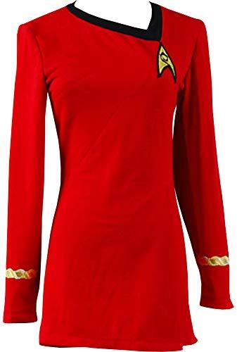 UTOSI Damen Star Trek rotes Kleid Halloween Kostüm TOS Uniform Tuch - Rot - (Star Trek Kostüm Übergröße)