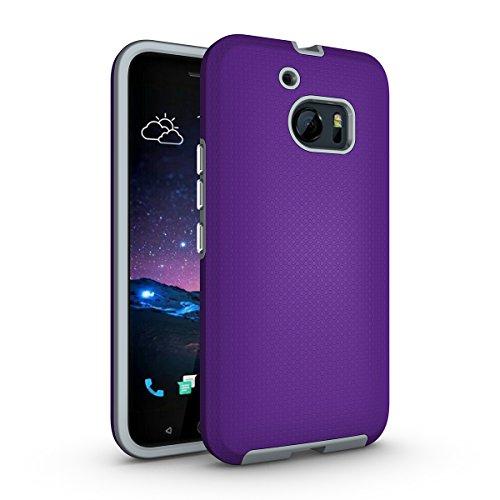 HTC One M10 Coque,EVERGREENBUYING Ultra Slim léger 2 en 1 HTC 10 (2016) Cases Housse Etui de protection Anti-dérapant hybride Cover pour HTC ONE M10 Noir Violet