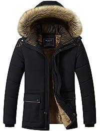 Mengyu Hombres Espesar Tallas Grandes Chaqueta Acolchado con Capucha de Piel Sintética Caliente Impermeable Abrigos