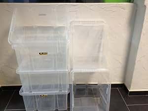 Lot de 6rotatif Box Boîte de rangement empilable Euro Box 44x 35x 23,5cm 29L neuf Transparent