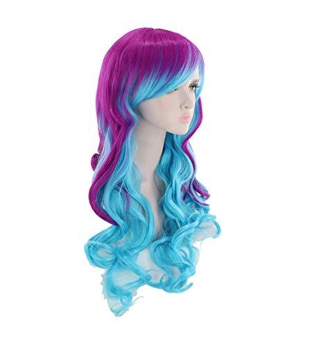 Bunte Perücke langes lockiges Haar Lolita Einhorn Perücke Halloween Kostüm blau gemischt lila Perücke