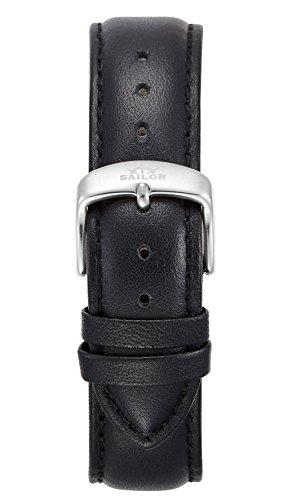 Sailor Damen Herren Leder Armband Basic Black schwarz BSL101-2020-20, Breite Armband:20mm (normal),