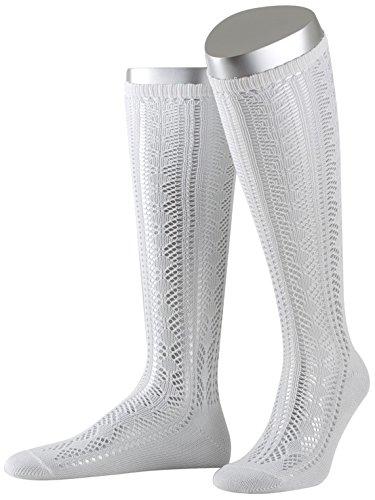Lusana Damen Trachtenstrümpfe Damenkniestrumpf mit Ajourmuster, Weiß (Weiß 26), 40 (Herstellergröße: 40-42)