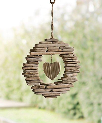 """Kranz """"Wooden Heart"""" rustikale Deko mit Landhaus-Charme, naturbelassenes Holz und Treibholzstücke dekorativ zusammengesetzt, robuste Sisalschnur Ø ca. 21 cm"""