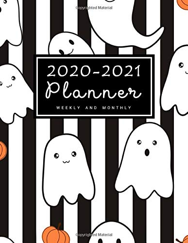 2020-2021 Weekly & Monthly Planner: 2 Year Calendar Schedule, Squares Quad Ruled, Dot Notes, Monthly Goals Setting, Action Plan, No Holiday Halloween Ghost (January 2020 through December 2021)
