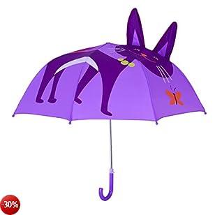 Rainbrace - Ombrello per Bambini, Rainbrace Ombrello da Pioggia per Bambino e Bambina con Orecchie 3D,Gatto
