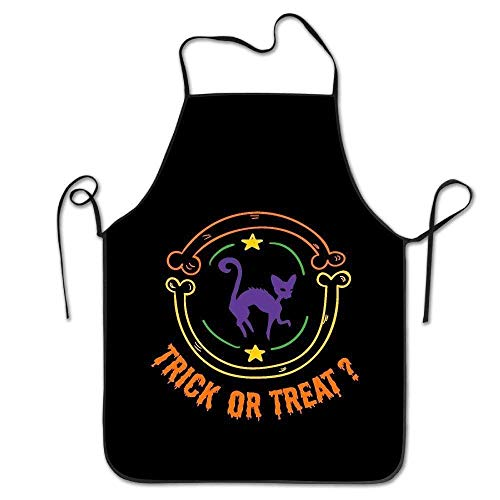 tgyew 2019 Apron Personalized Aprons Art Trick Or Treat Halloween Black Cat Adjustable Durable String Apron (Halloween-trick 2019 Or Treat-tag)
