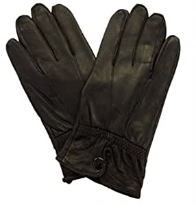 Lorenz Quality Genuine Black Leather Ladies Glove With Button Cuff - Black, Small