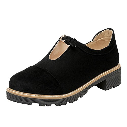Mee Shoes Damen Niedrig Geschlossen runde Nubukleder Pumps Schwarz