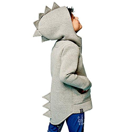 idung Herbst Dinosaurier Langarm Tops Hoodie für Jungen 1-7Jahre (Größe 140, Grau) (Dinosaurier Hoodie)