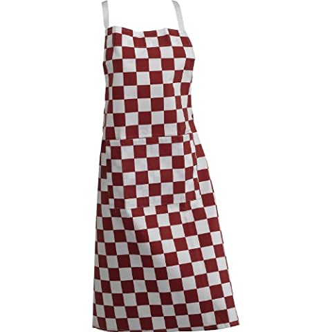 Rouge Carreaux Professionnelle Traiteur Chef Tablier avec Poche-Butchers Tablier pince (simple)