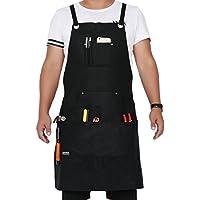 Langxun Delantal de herramientas encerado negro con bolsillos para herramientas | Delantal de trabajo ligero y duradero - Correas cruzadas y ajustables hasta XL para hombres y mujeres