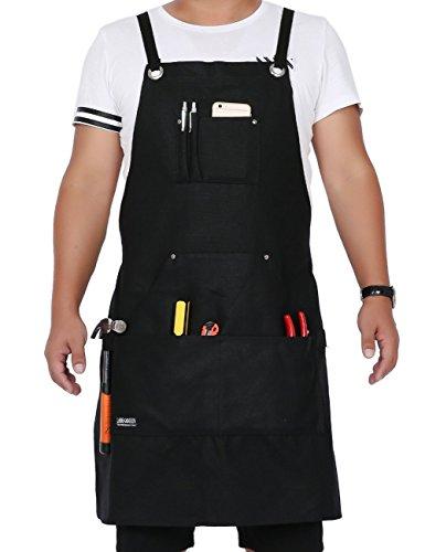Langxun Schwarz gewachste Leinwand Werkzeug Schürze mit Werkzeugtaschen | Leichte und langlebige Arbeitsschürze - Cross-Back-Träger und verstellbar bis XL für Männer und Frauen