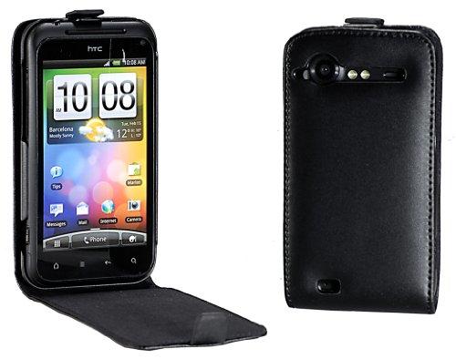 MaryCom PREMIUM QUALITÄT Leder Handytasche schwarz für HTC Incredible S Smartphone + gratis Displayschutzfolie / LTS S710e