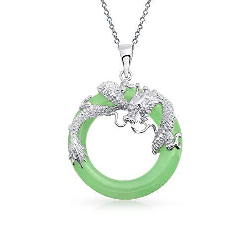 ischen Stil Runder Kreis Disc Gefärbt Grün Jade Drachen Anhänger Halskette Für Damen Sterling Silber ()