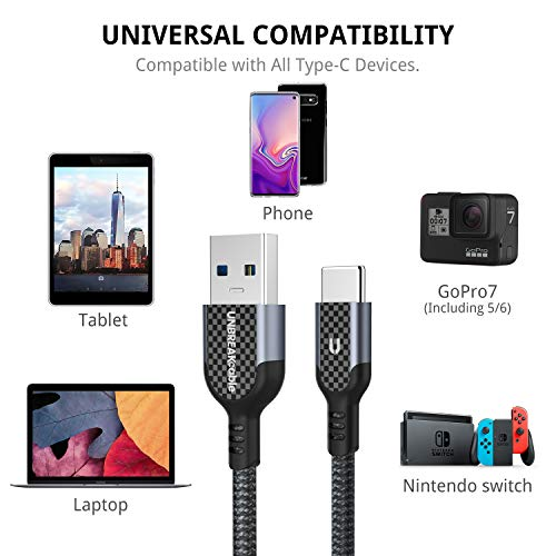 UNBREAKcable Type C to USB 3.0 Cable - [6.6ft] Ultra Durable Nylon Braided USB C Fast Charging Cable for Samsung Galaxy S10/S9/S8+, MacBook, Sony, Google Pixel, HTC, LG, Huawei P30/P30 Pro/P20 –Grey Img 4 Zoom