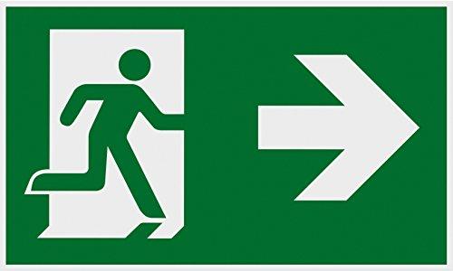 Metafranc Hinweisschild Symbol: Fluchttür rechts - 250 x 150 mm / Beschilderung / Infoschild / Rettungsweg / Fluchtweg / Notausgang / Sicherheitsmarkierung / Gewerbekennzeichnung / 500110
