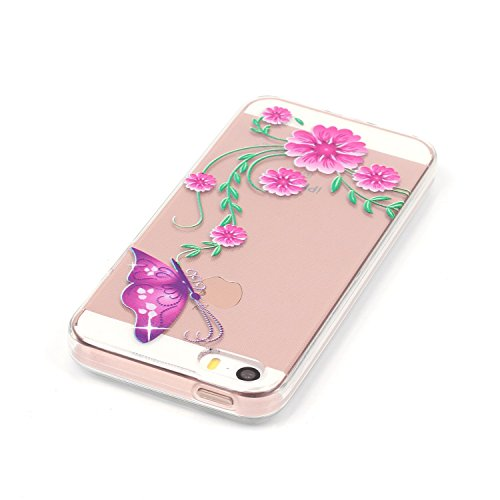 iPhone SE Silicone Coque,iPhone 5S Case,iPhone 5 Cover - Felfy Clair Ultra Mince Slim Coque Gel Souple Soft Flexible TPU Silicone Transparent Etui Protective et Fleurs Papillons Motif Design Bumper Ca Rose Papillon Cas