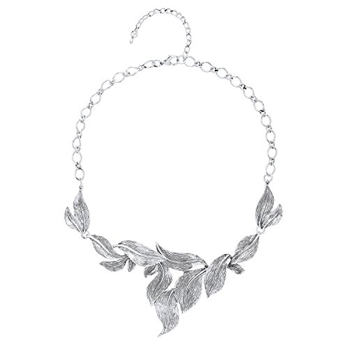 Front-Row-Antique-Silver-Colour-Tumbling-Leaf-Statement-Necklace-of-Length-43-50cm
