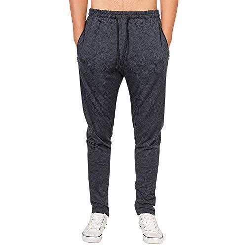 Geili Herren Lang Sporthose Jogger Hosen Sweatpants Einfarbige Slim Fit Skinny Hose Gummizug Jogginghose Freizeithose mit Reißverschlusstasche