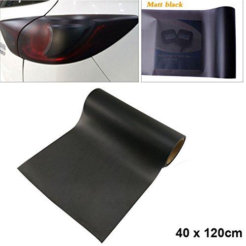 QEUhang 2 PCS Scheinwerfer Folie Tönungsfolie Aufkleber für Auto Scheinwerfer Rückleuchten Blinker Nebelscheinwerfer (120X40cm Matt Schwarz)