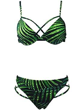 Shangrui Donna Costume Da Bagno Serie Foresta pluviale tropicale Le foglie Stampato Bendare Costume da bagno Bikini...