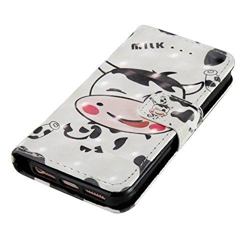 Portefeuille iPhone 5S Coque Blanc, Aeeque® Glitter Animaux Motif [Vache Laitière] Fermeture Aimant et Carte de Crédit Style Lirves Étui Housse en Cuir Case à Rabat pour iPhone 5 5S SE Vache Laitière Blanc