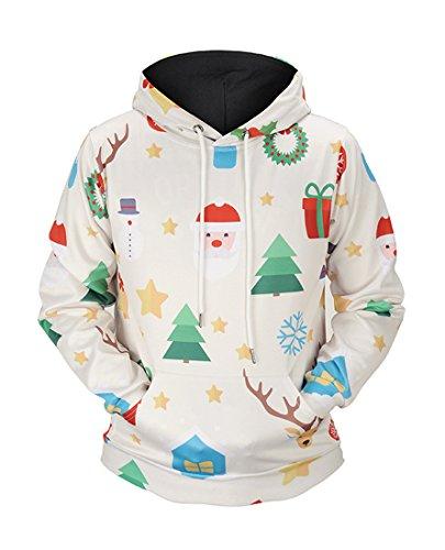 Honeystore Unisex Weihnachten Schneemann Drucken Kapuzenpullover 3D-Druck Beiläufig Hemden Tops Blusen Winter Kapuzenpullis mit Kapuze Hemd Pullover Mantel Sweater Sweatshirts Mäntel Beige ()