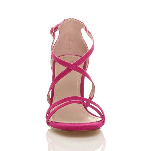 Donna tacco alto medio cinghietti incrociato matrimonio sera sandali taglia Rosa fucsia scamosciata