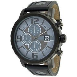r-fight-homme-quartz-bracelet Real Cowhide Leather Fashion croco-noir