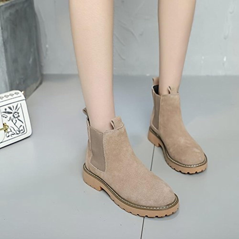 Bottes Femme Casual Chaussures Plates Chaussures Britanniques Bas Chaussures Plates Et Chaussures , abricot , 36,5 EURB077KB9CZ6Parent 7f430c