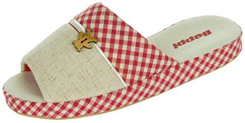Beppi Damen Haus-Schuhe Warm| Indoor Frauen Pantoffeln | Leicht Bequem Warm | Rot-Weiß | Größe 35