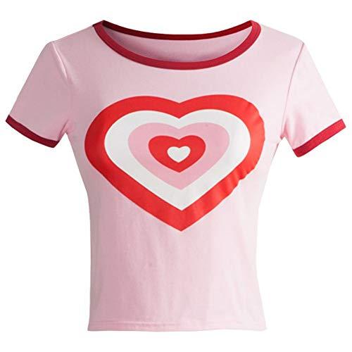 LIULINUIJ Frauen T Sommer O Hals Dünne T-Shirts Weibliche Kurzarm Ringer Rosa Herz T-Shirt Für Frauen Tops -