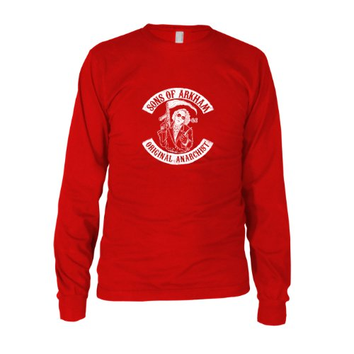 Sons of Arkham - Herren Langarm T-Shirt, Größe: XXL, Farbe: rot